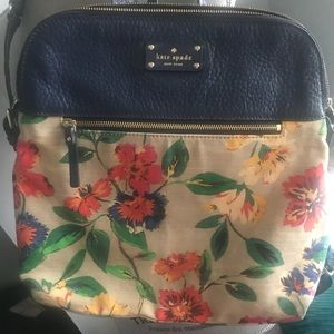 kate spade Bags - KATE SPADE FLORAL LEATHER AND CANVAS BACK PACK